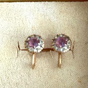 Lovely 10 karat gold vintage earrings w stones